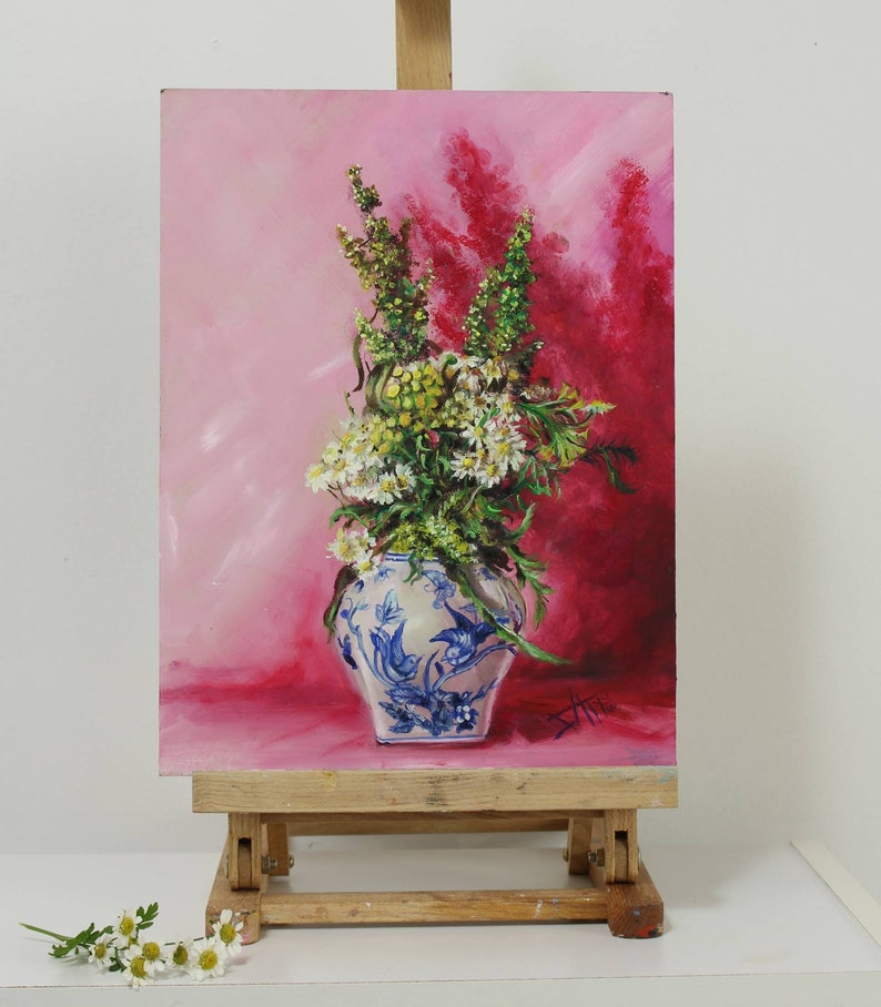 Wildflower art Original oil painting  chinoiserie still life image 0