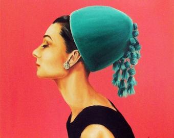 """Audrey Hepburn in green hat art print 8x10"""""""