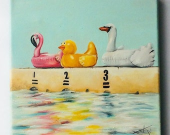 Summer art print from Original Oil Painting , Floatie Race by the swimming pool 8x8