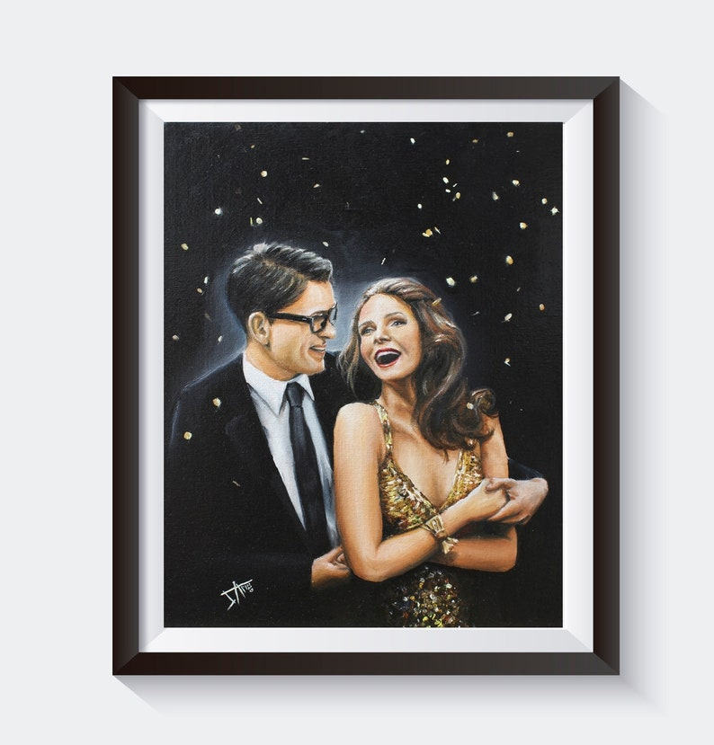 Retro couple dancing  original oil painting on canvas  image 0