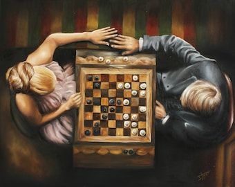 Game for two , Chess lovers art print, Steve McQueen in Thomas crown with Faye Dunaway