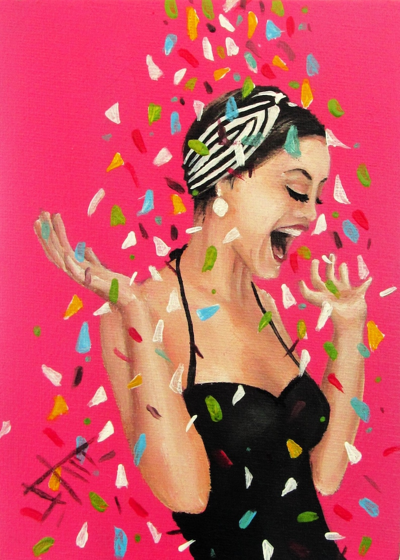 Vintage art print fashion art and Confetti Rain  8x10 image 0