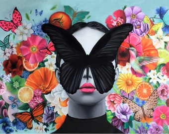 In full bloom art print , Citrus florals and butterfly