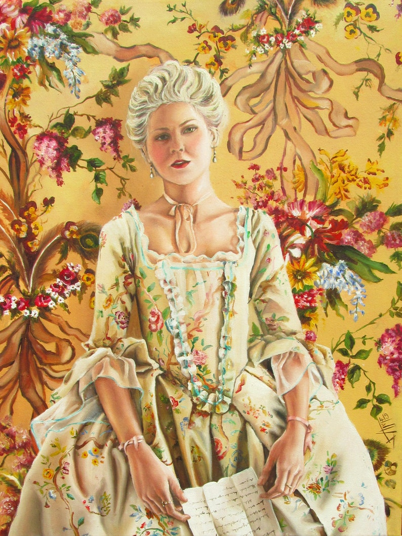 Marie Antoinette Print on Canvas  rococo french style image 0