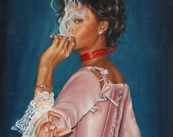 Rihanna art print in Marie Antoinette style ,Bad Gal Riri