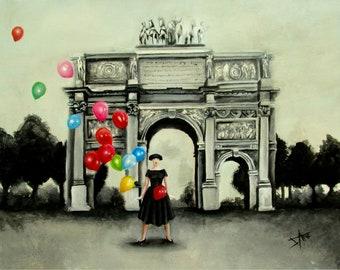 Audrey Hepburn's funny face scene fine Art print , Bonjour Paris wall art