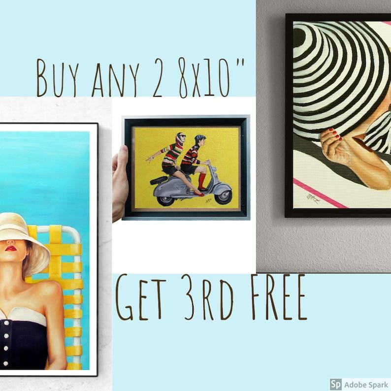 Buy any 2 8x10 art prints get one free  Retro vintage image 0