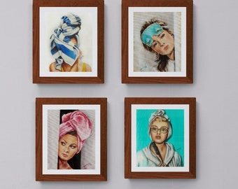 Bathroom art print set