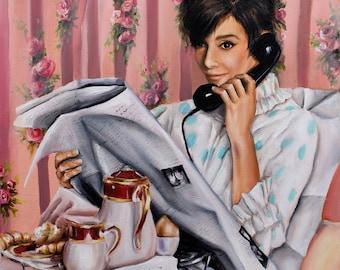 Audrey Hepburn portrait fine art print, scene from how to steal a million movie art
