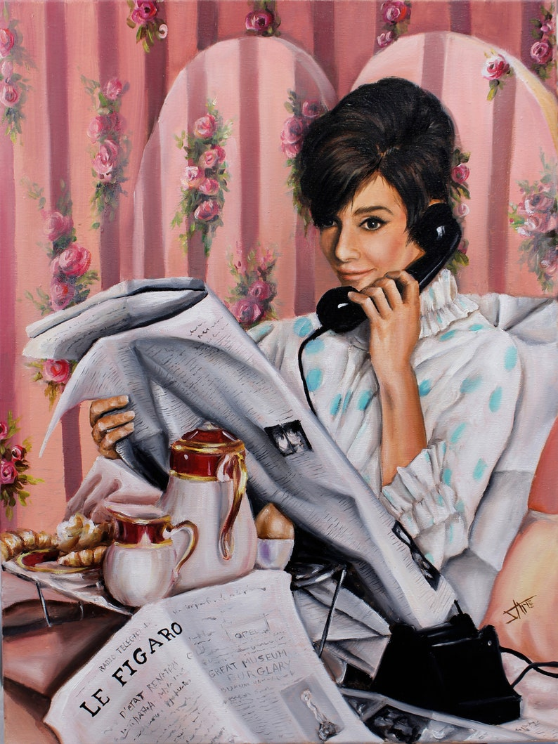 Audrey Hepburn inspired original large oil painting on canvas image 0