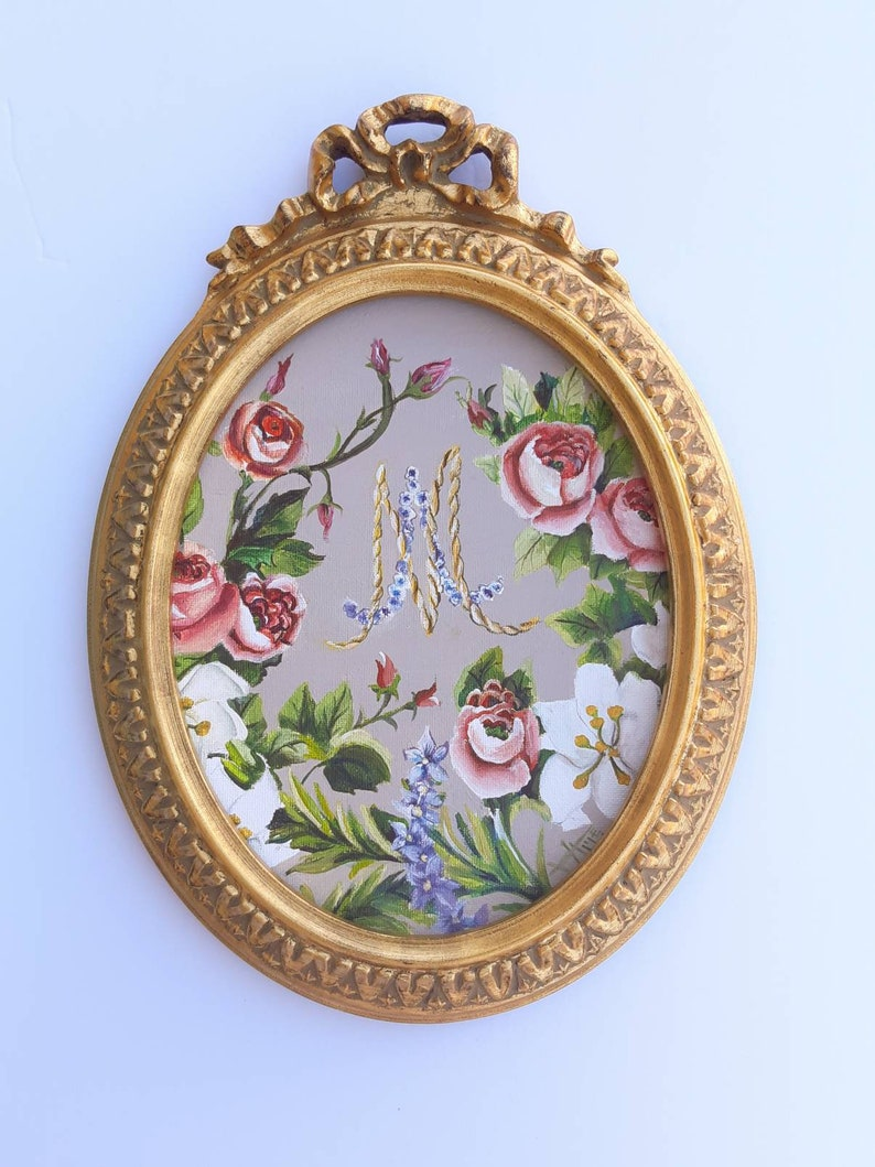 Marie Antoinette initials oval painting in vintage frame  image 0