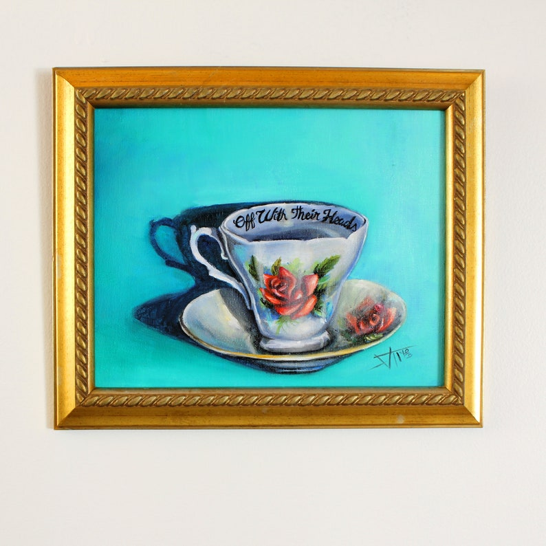 Alice in wonderland tea party inspired Original oil painting image 0
