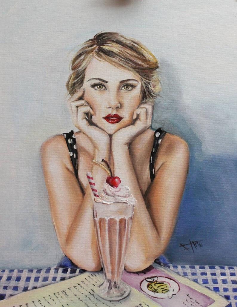 Waiting for summer original oil paintingvintage portrait  image 0