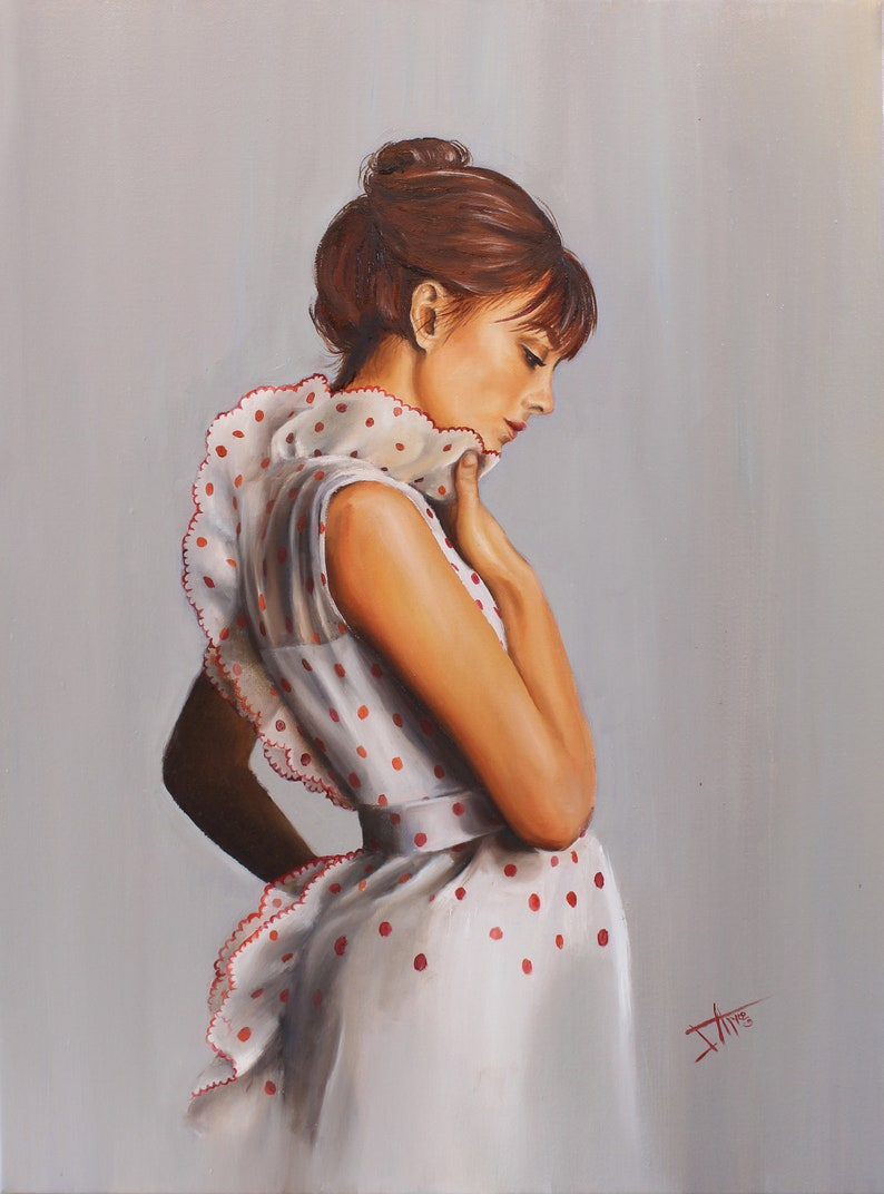 Jane Birkin original oil painting in vintage fashion polka image 0