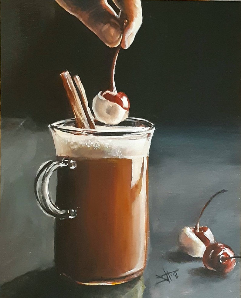 Spiced Coffee Original still life  painting on canvas panel image 0