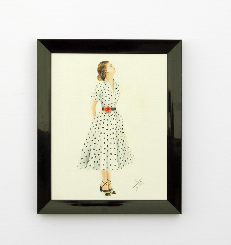 original vintage style oil painting on canvas polka dot dress image 0