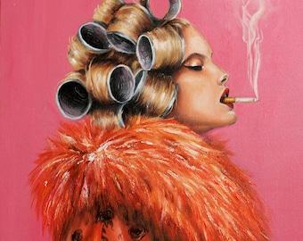 Vintage Vogue inspired Roller girl smoking, Retro art print
