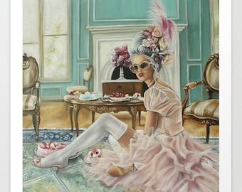 Modern Marie Antoinette inspired fine art print, french regency art , eat cake , feminine art
