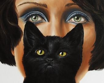 Woman with a black cat fine Art print, Chat noir , Cat's eyes , vintage portrait art