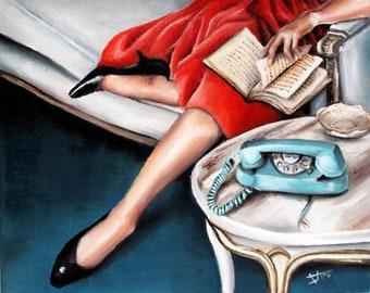 Self isolation or Cherished Solitude Art print ,retro Mid century modern style wall art self care , vintage home decor