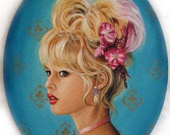 Marie Antoinette x Brigitte Bardot original portrait oil painting