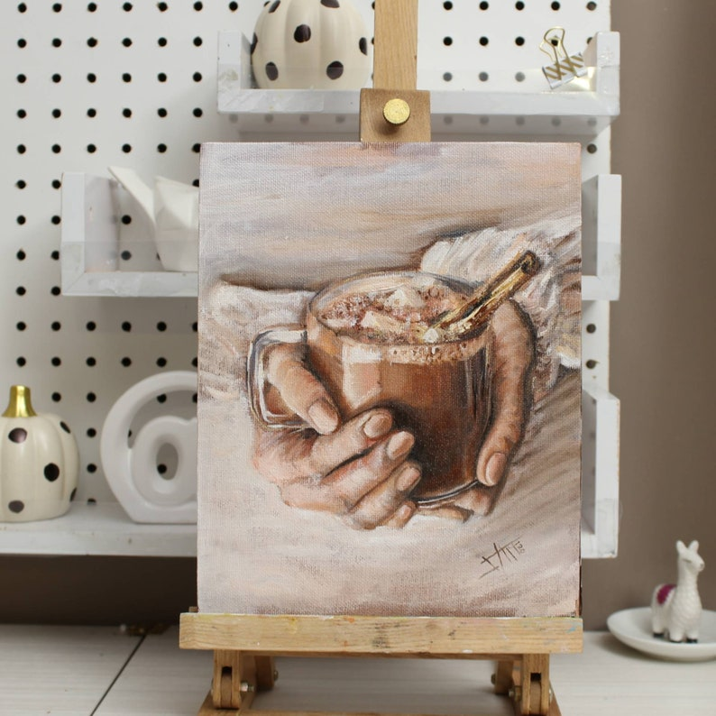 Original oil painting on canvas panel  winter hot chocolate image 0