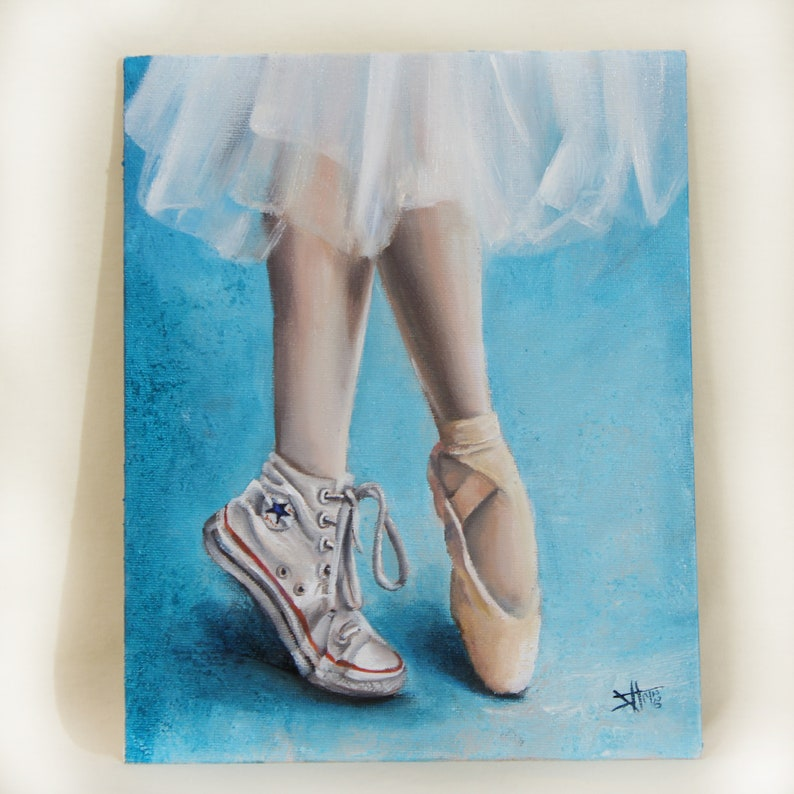 Ballet Original oil painting on canvas Ballerina Shoe  image 0