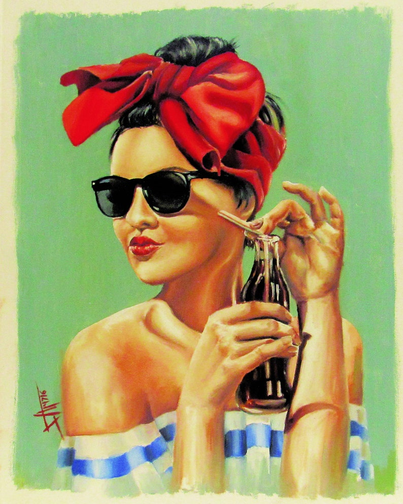 Sunkissed vintage style art print from original painting by image 0