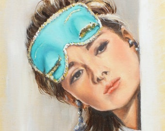 "Audrey Hepburn Art print, Breakfast at Tiffany's "" Blue Mask "" Bedroom art ,self care"