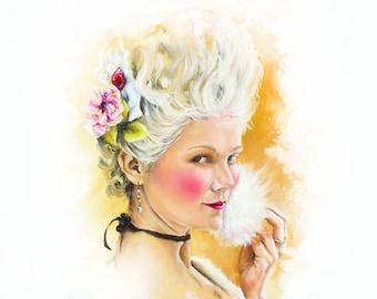 Marie Antoinette portrait art print rococo french art , let them eat cake