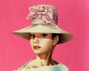 """Audrey Hepburn I believe in pink art print 8x10"""""""