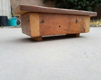 Small rustic reclaimed wood box with hinged lid