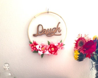 Laugh - Laser Cut Wood Word ; Pink Paper Flower Wall Hanging Decor