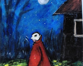 The Vampire Roams ~ Original Acrylic Painting by LeanneM ~