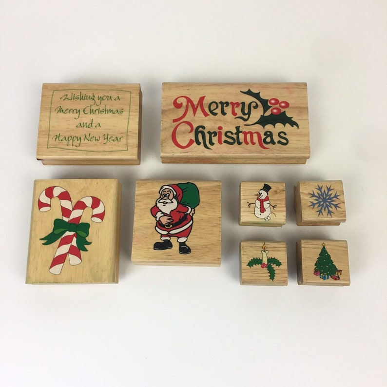 Christmas Holiday New Year Rubber Stamp Lot Merry Christmas Snowflake Tree Santa