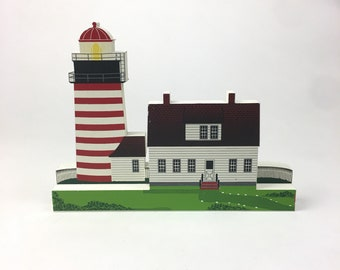 Shelia's West Quoddy Head Light House Maine Shelf Sitter Decoration Vintage 1996