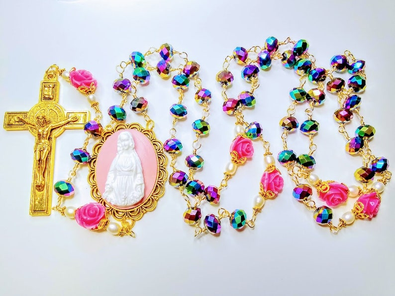 Vatican Style Rainbow Crystal Pink Roses Mary Cameo Benedict image 0