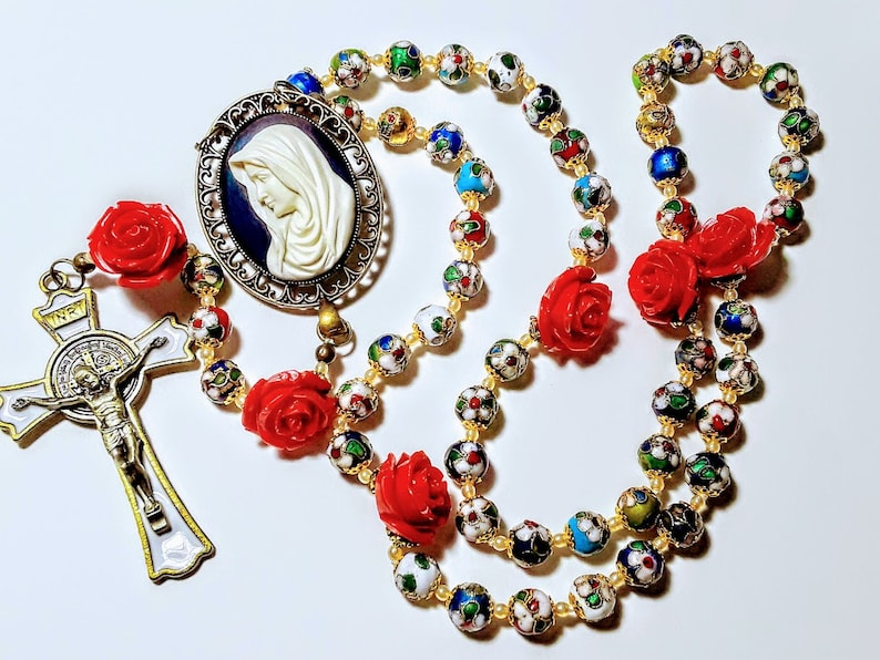 Beautiful Vatican Style Multi Color Cloisonné Red Rose St. image 0