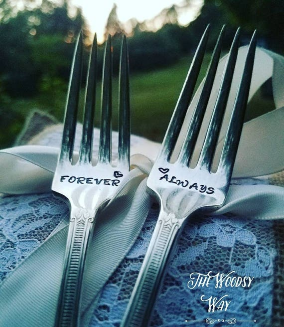 Wedding fork set Always and Forever Handstamped silver fork set Mr Mrs wedding set Wedding keepsake His /& hers Wedding gift Wedding decor