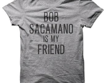 Bob Sacamano Is My Friend Short Sleeve Tee-Heather Grey