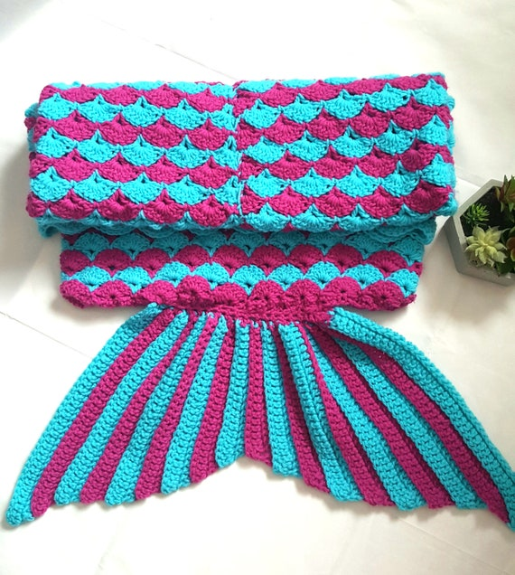 Toddler Mermaid Tail Blanket Pink And Blue Crochet Etsy