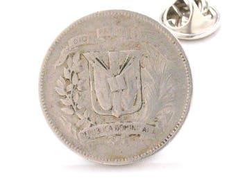 Dominican Republic Coin Tie Tack Lapel Pin Suit Traje Flag DR Santo Domingo  Republica Dominicana Wedding Gift Jewelry Caribbean