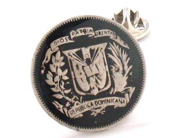 Dominican Republic Coin Tie Tack Lapel Pin Suit Traje Flag Santo Domingo  Republica Dominicana Joyeria Jewelry Caribbean