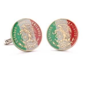 Mexico Cufflinks Cuff Links Coin Mexican Eagle Seal Coins Peso Money Finance Trade Cuidad de Mexico Vera Cruz Gemelos Mancuernillas Traje