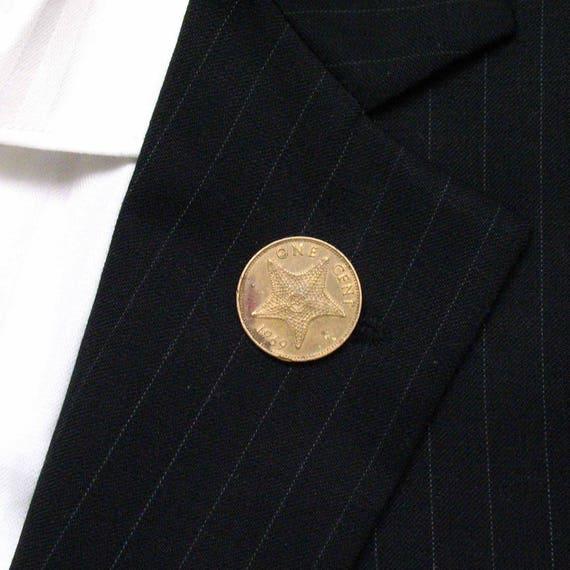 Bahamas Coin Tie Tack Lapel Pin Suit Starfish Star Fish Sea Ocean Nassau Ship Captain Boat Sailing Sailor Cruise
