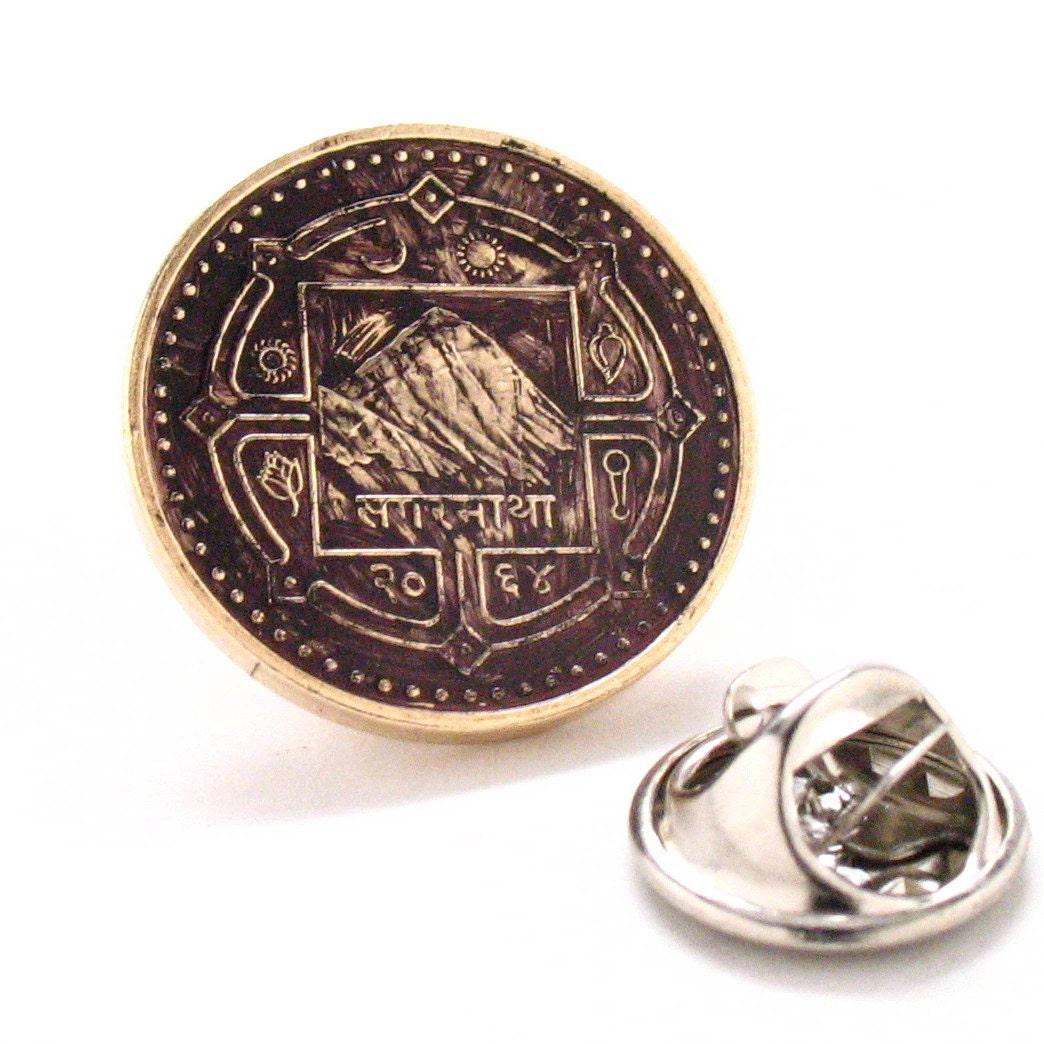 Mount Everest Tie Bar Clip Coin Nepal Rupee Tiebar Tieclip Money Champion Asia India Finance Trade
