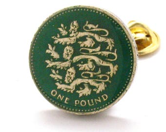 British Pound Tie Tack Lapel Pin Suit Britain Shield of England Lions Seal Crest United Kingdom Trade Finance Royal Queen King Knight