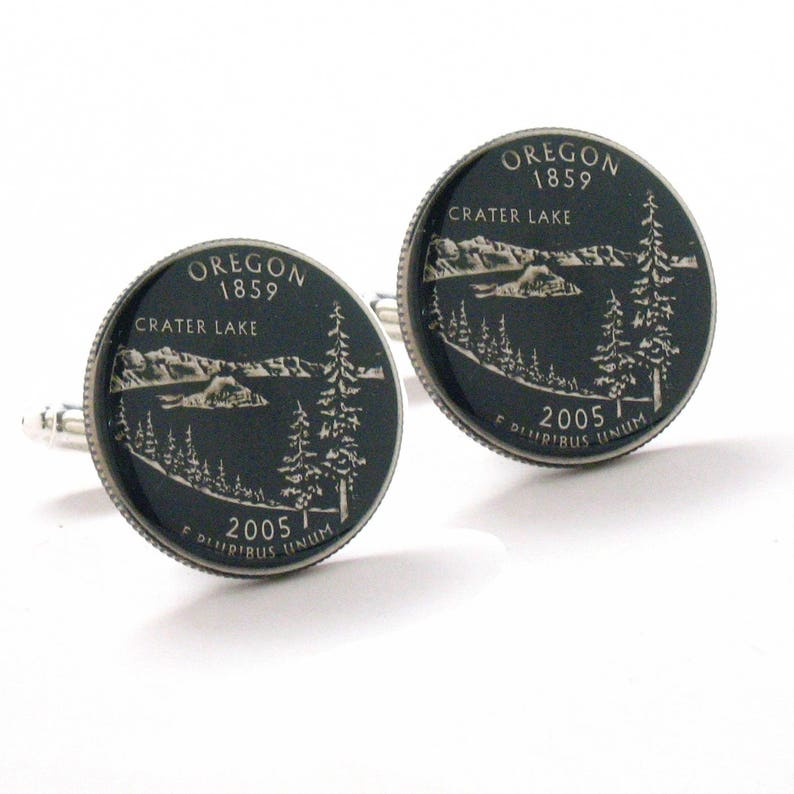 Oregon Cufflinks Suit Flag State Coin Jewelry USA United States America Portland Salem Crater Lake