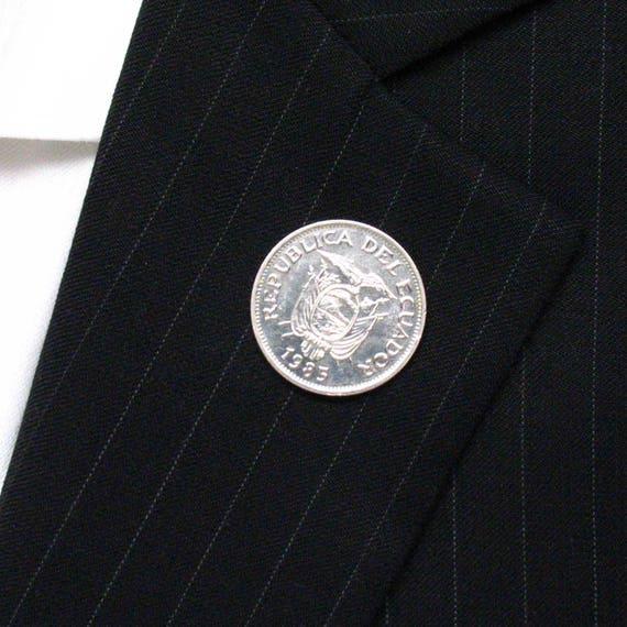 Silver Toned Etched Ecuador Flag Tie Tack
