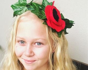 Poppy Crown, Anzac Day Crown, poppy wreath,  Anzac Day, poppy, poppies, poppy garland, poppy hair accessory, remembrance, handmade poppy